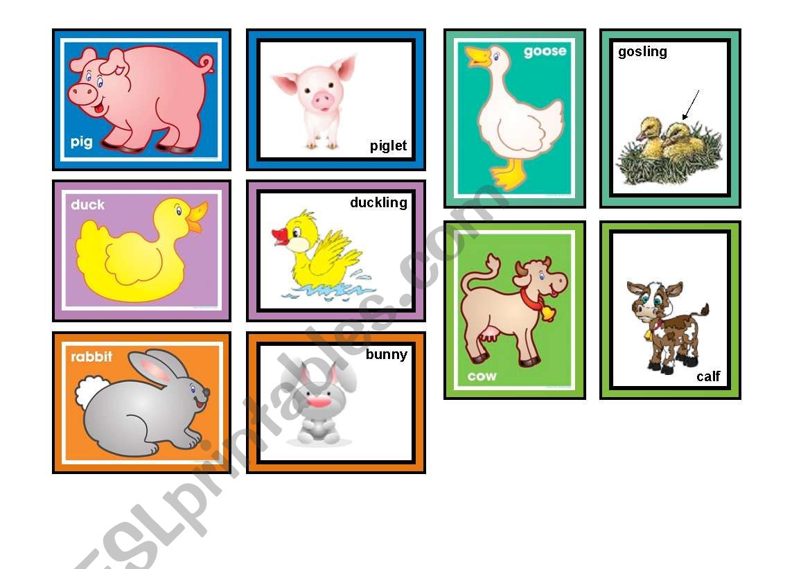 Farm Animals Matching Game Part 1 Of 2 30 Cards In The Set