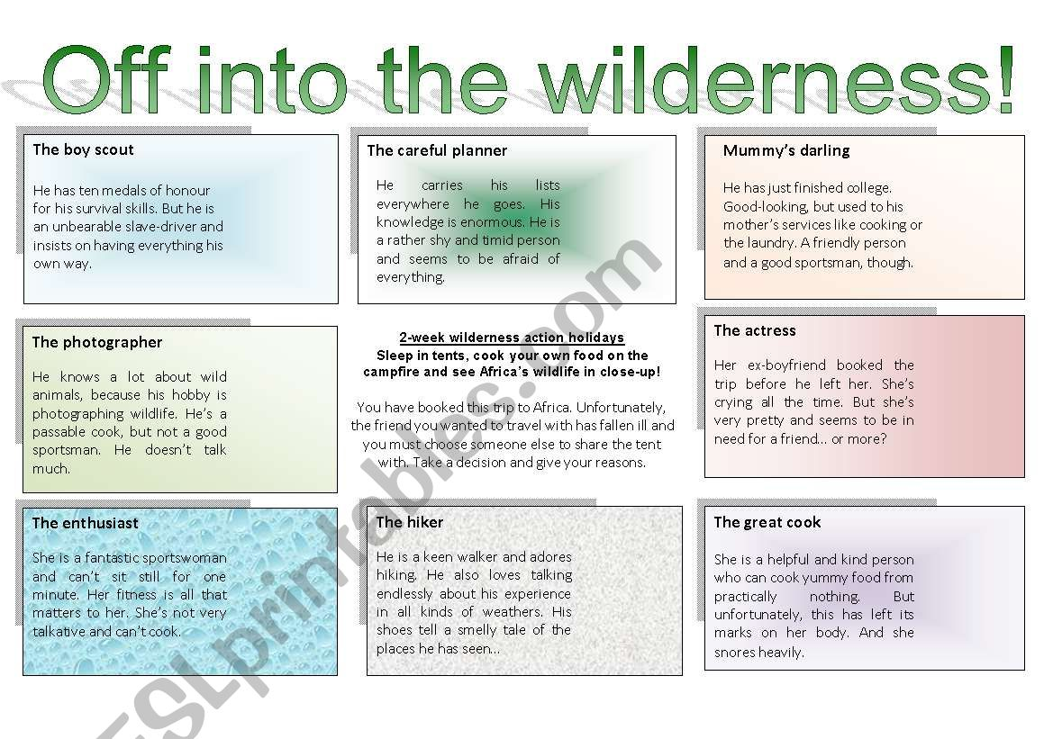 Off Into The Wilderness A Role Play Game