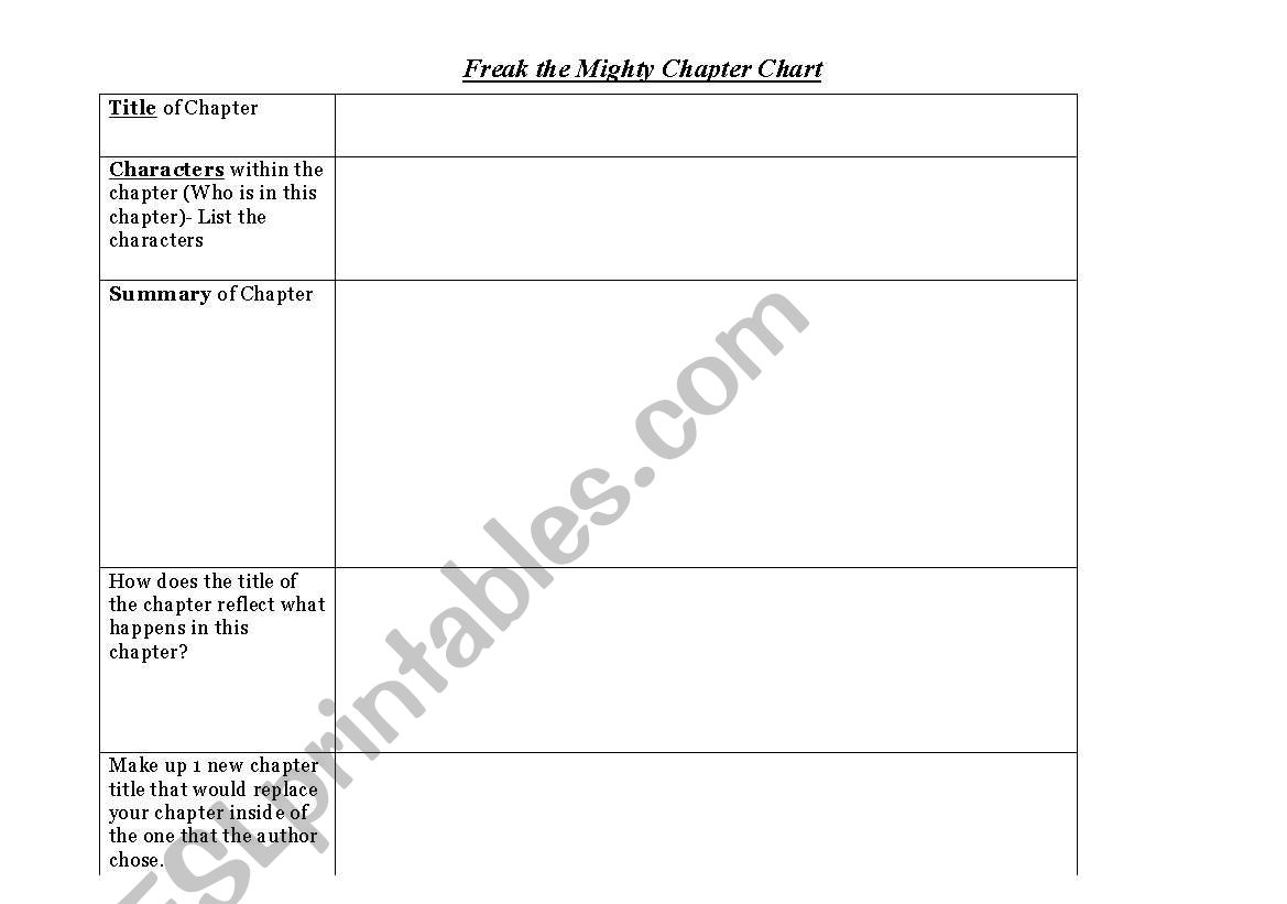 English Worksheets Freak The Mighty Character Chart