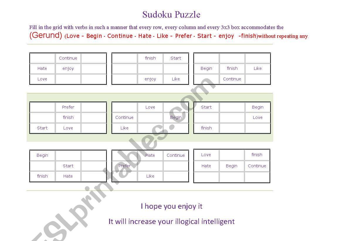 Gerund Game Sudoku Puzzle