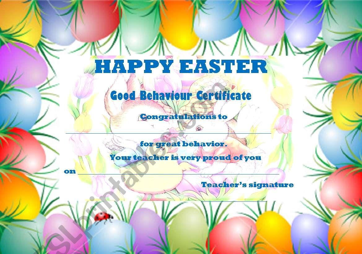 Easter Term Good Behaviour Certificate