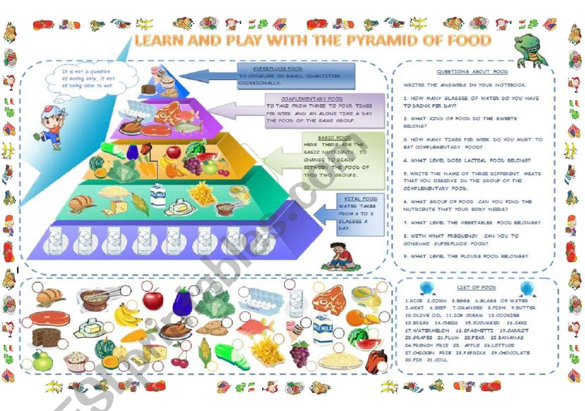 The Pyramid Of Food Part 1 2 Worksheets
