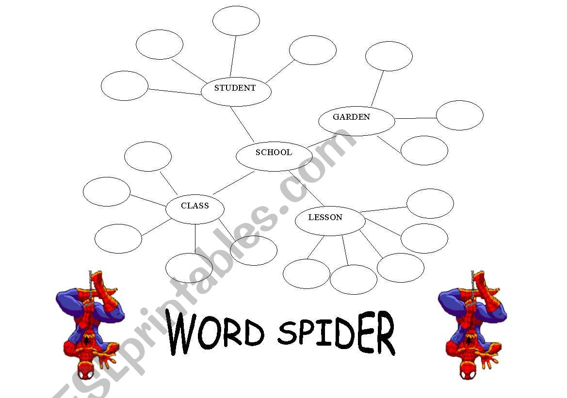 English Worksheets Word Spider