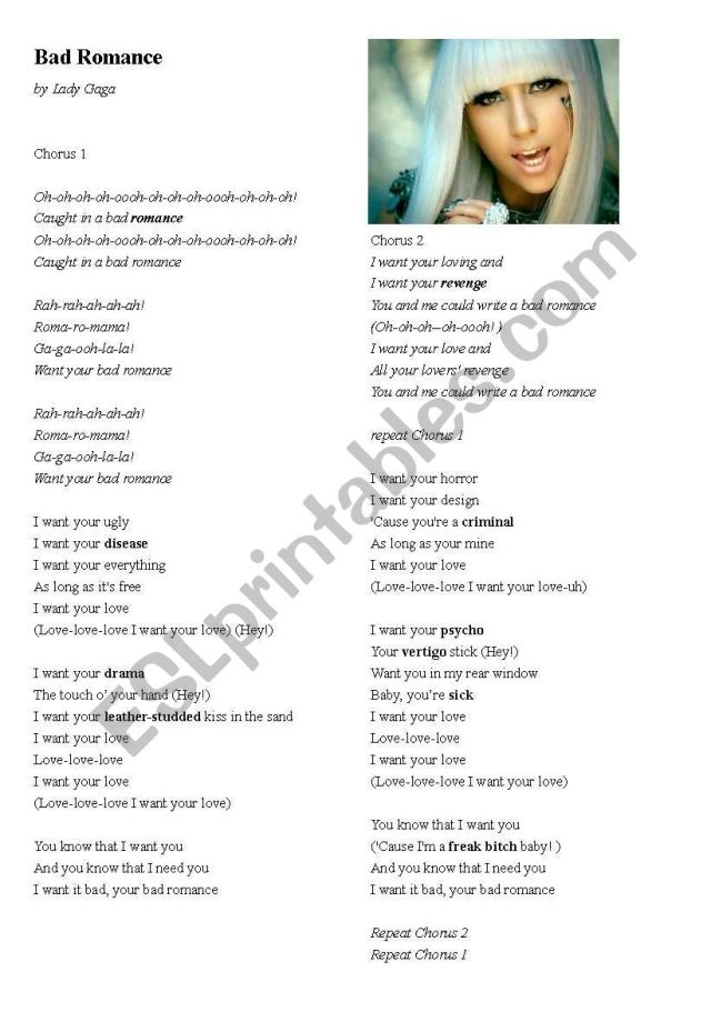Lady Gaga, Bad Romance Song Lyrics, Listening Activity and Vocab
