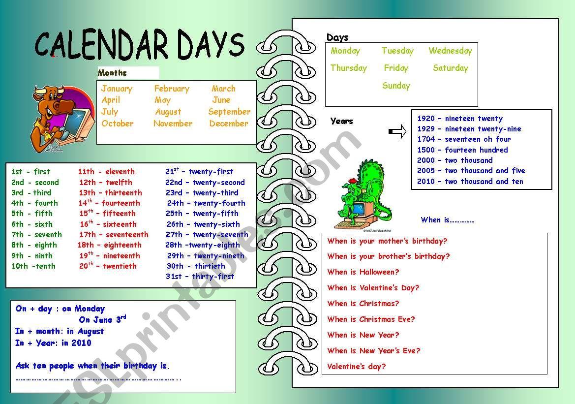 Dates And Calendar Days
