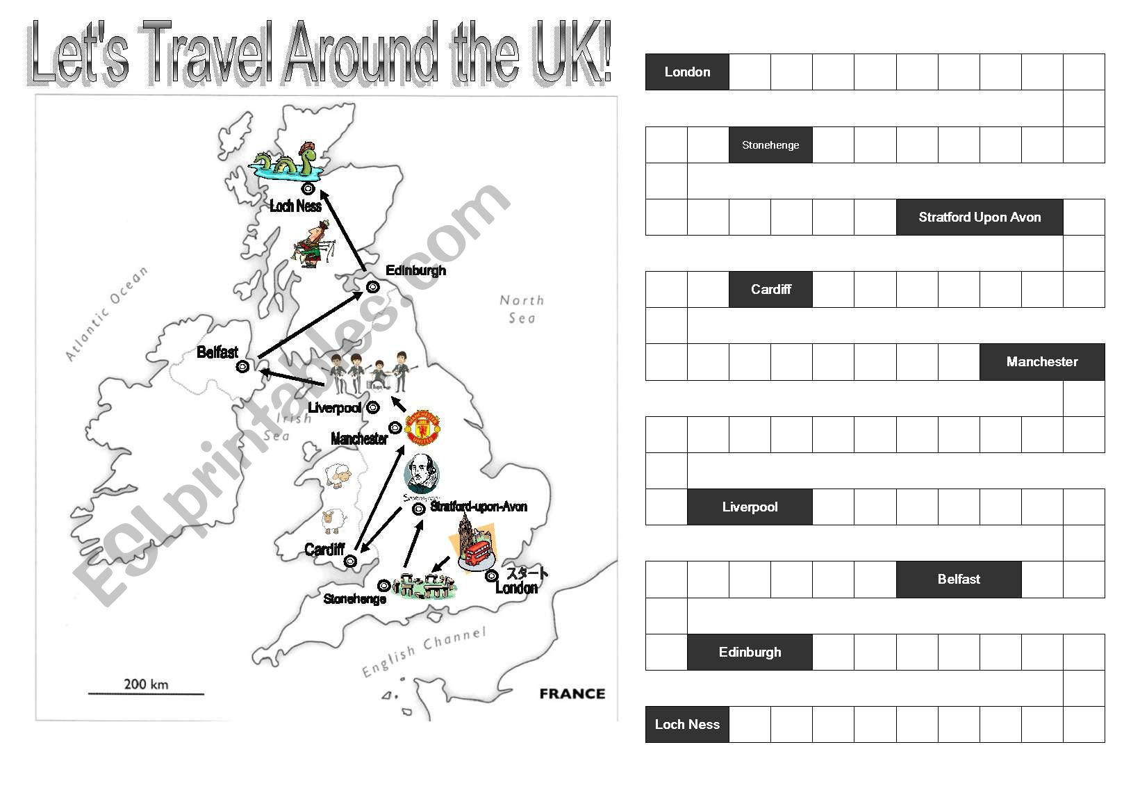 Point Progress Reward Sheet Travel Around The Uk