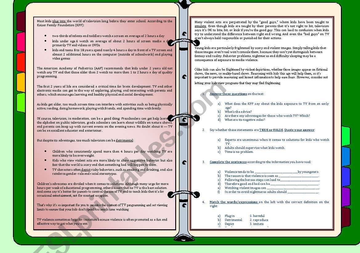 English Worksheets Addiction Tv