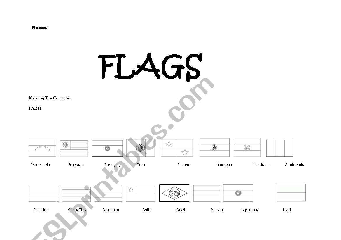 English Worksheets Flags