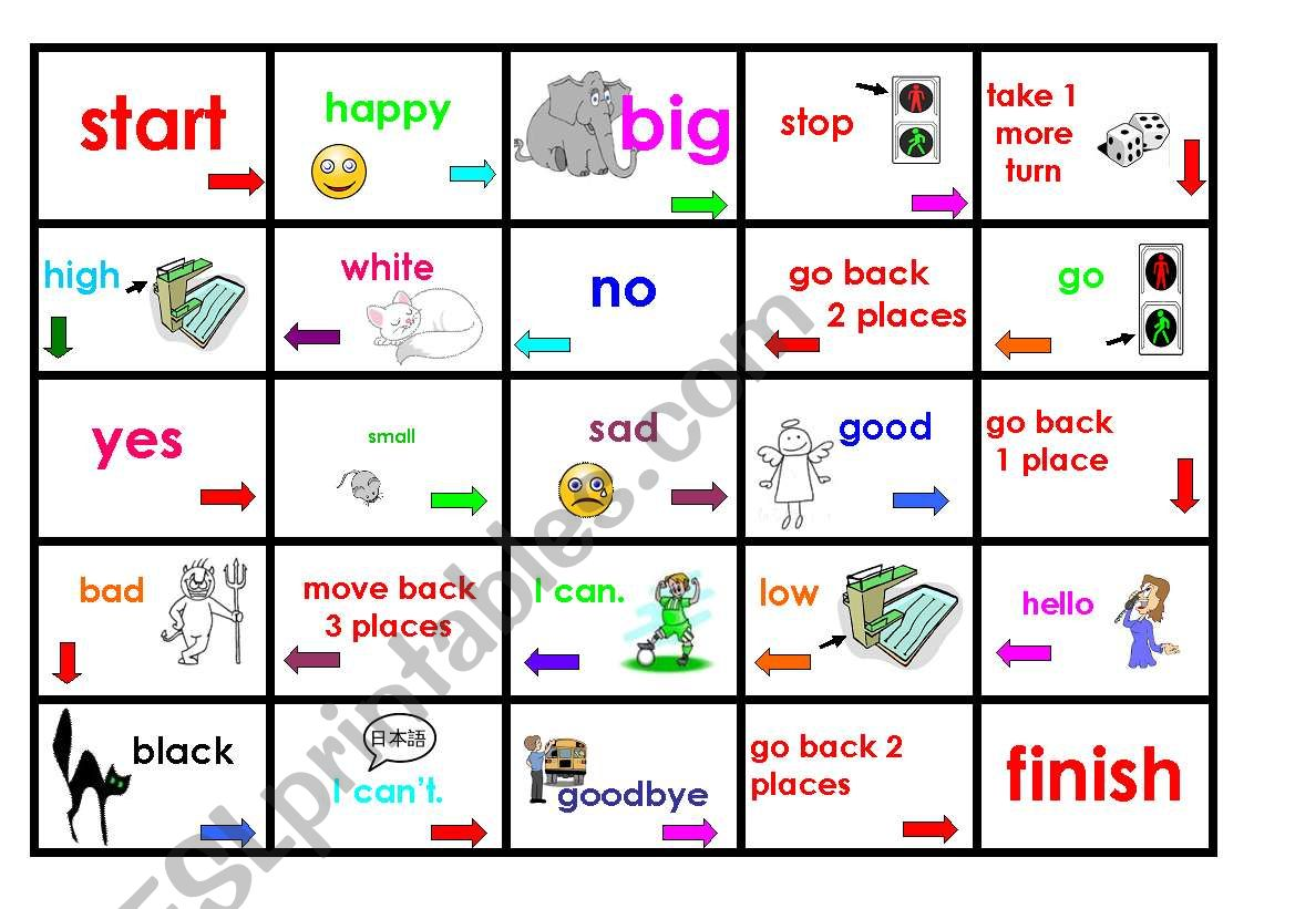 Very Basic Opposites Board Game