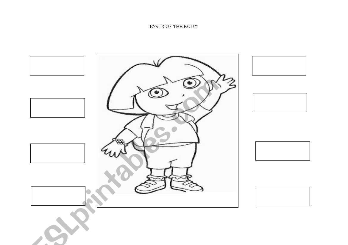 English Worksheets Dora Parts Of The Body
