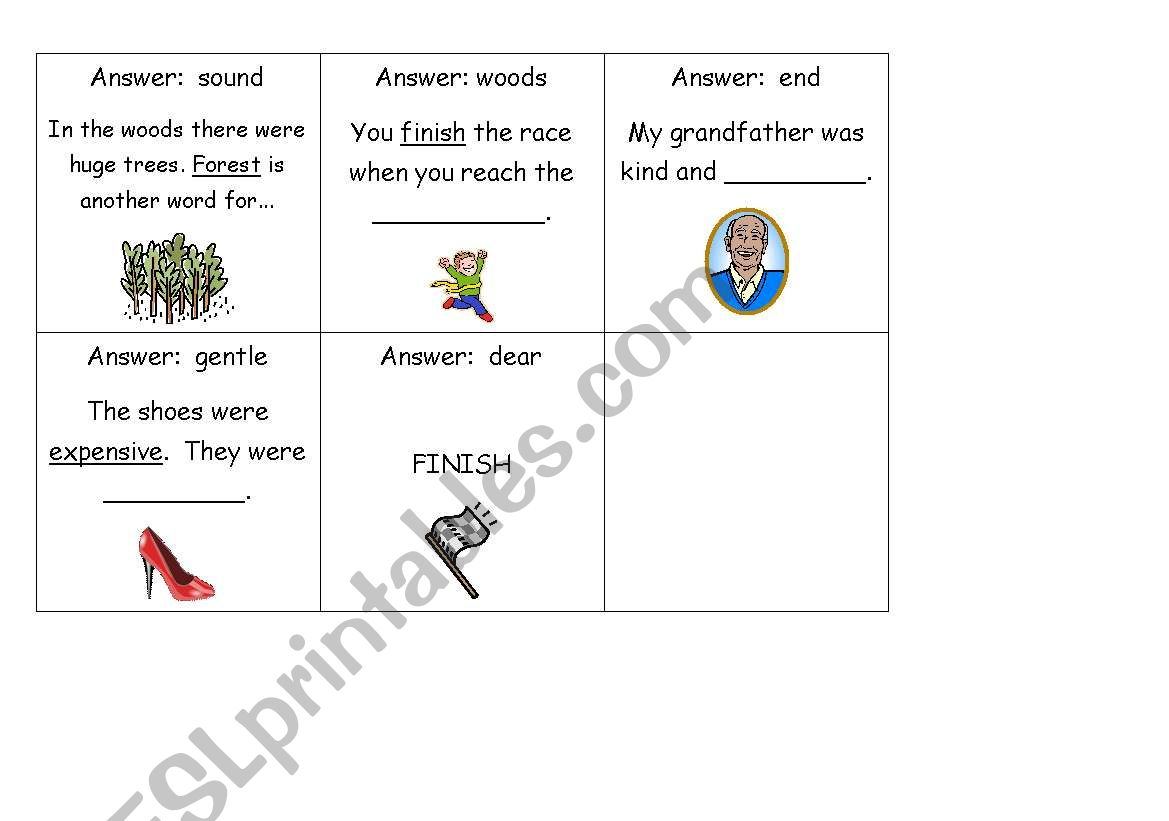 English Worksheets Synonyms Loop Game Cards