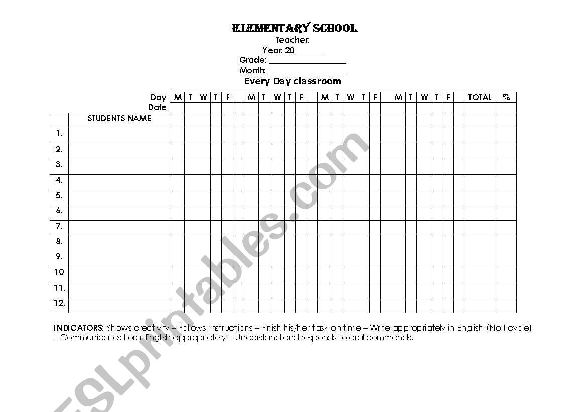 Attendance Forms And Other