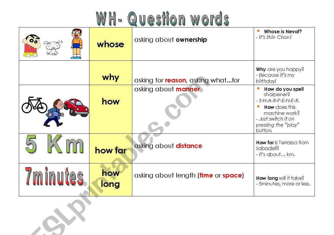 Wh Question Words Part 2