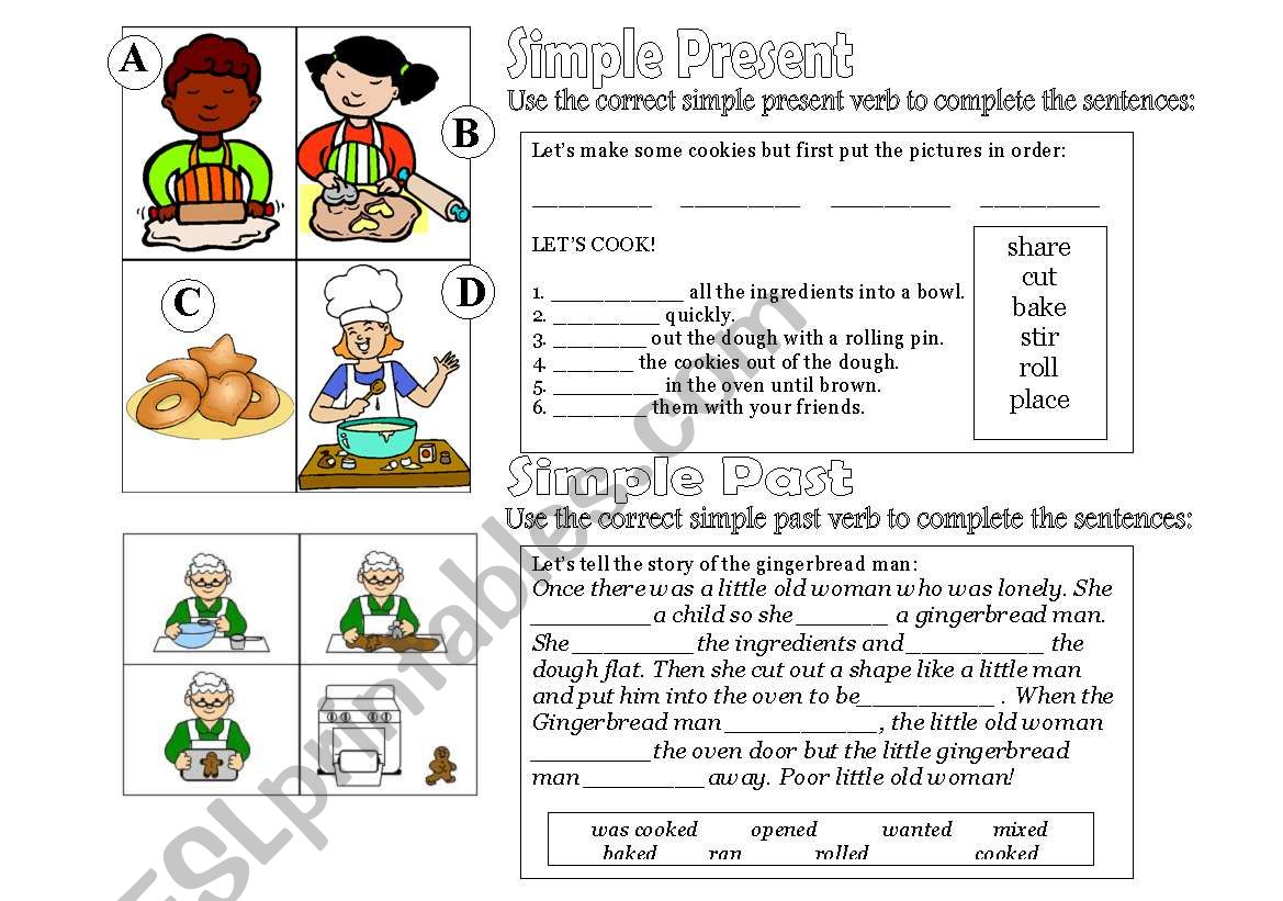 English Worksheets Simple Present Simple Past