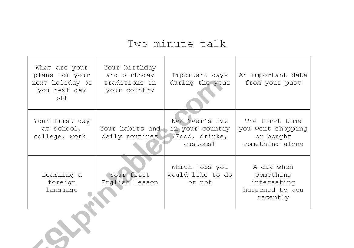 Two Minute Talk