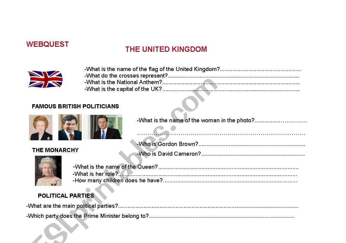 English Worksheets Webquest The United Kingdom And The