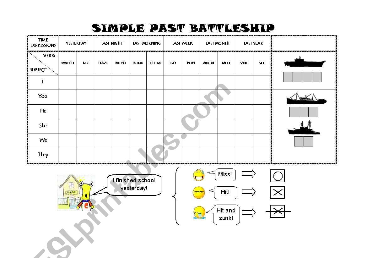 English Worksheets Past Simple Battleship