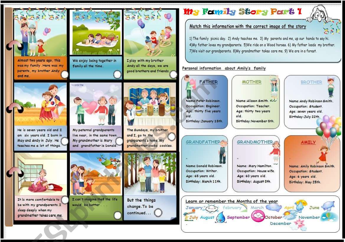 My Family Story Part 1 3 Two Activities With Key Learn And