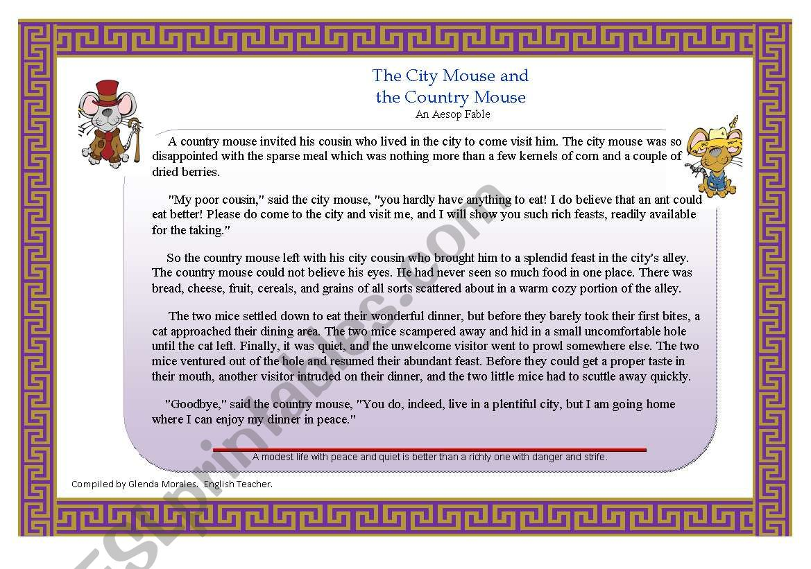 English Worksheets City Mouse And Country Mouse
