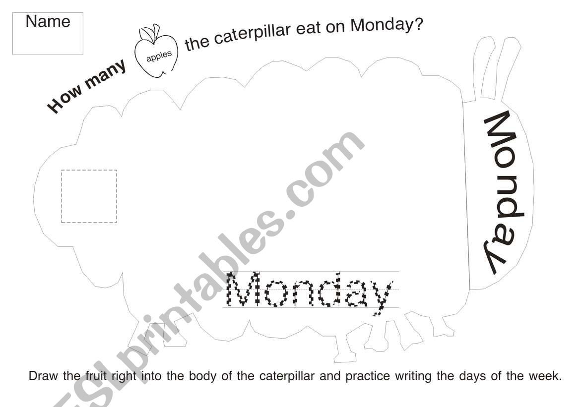The Very Hungry Caterpillar Worksheet 1