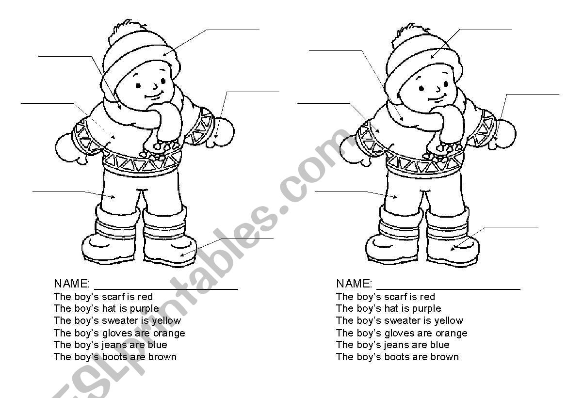 Winter Clothing Activity Using Clothing Items And Colours