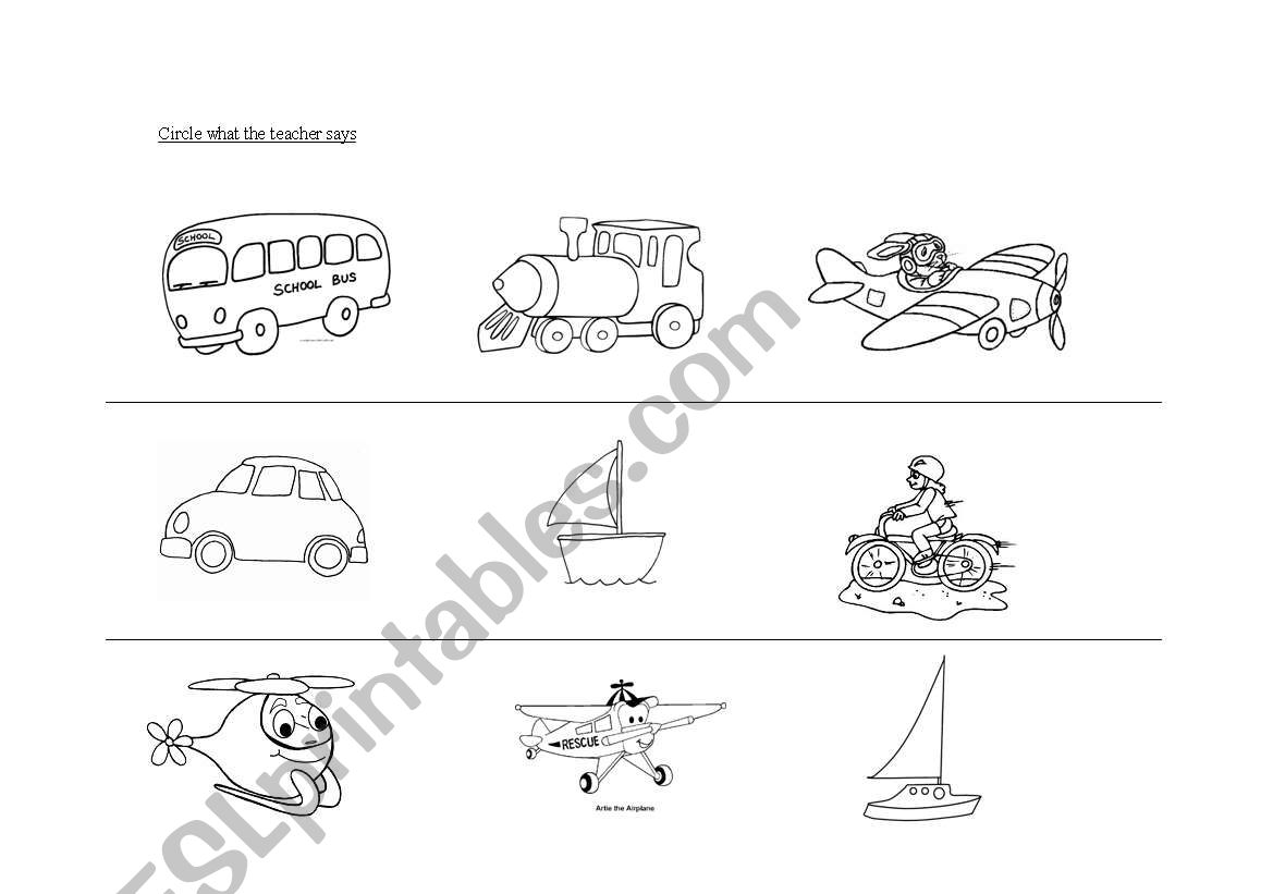 English Worksheets Means Of Transport