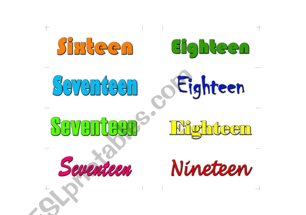 English Worksheets Spelling Numbers One To Twenty Card