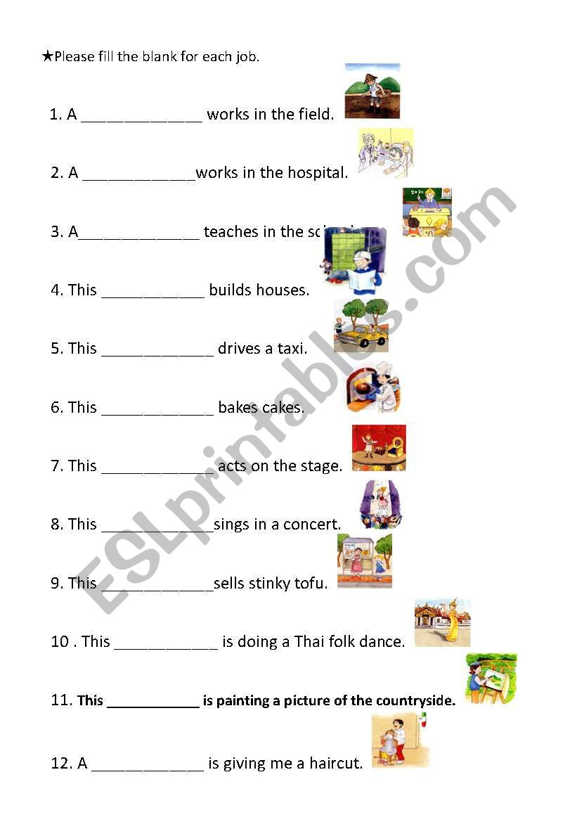 English Worksheets Occupation Worksheet