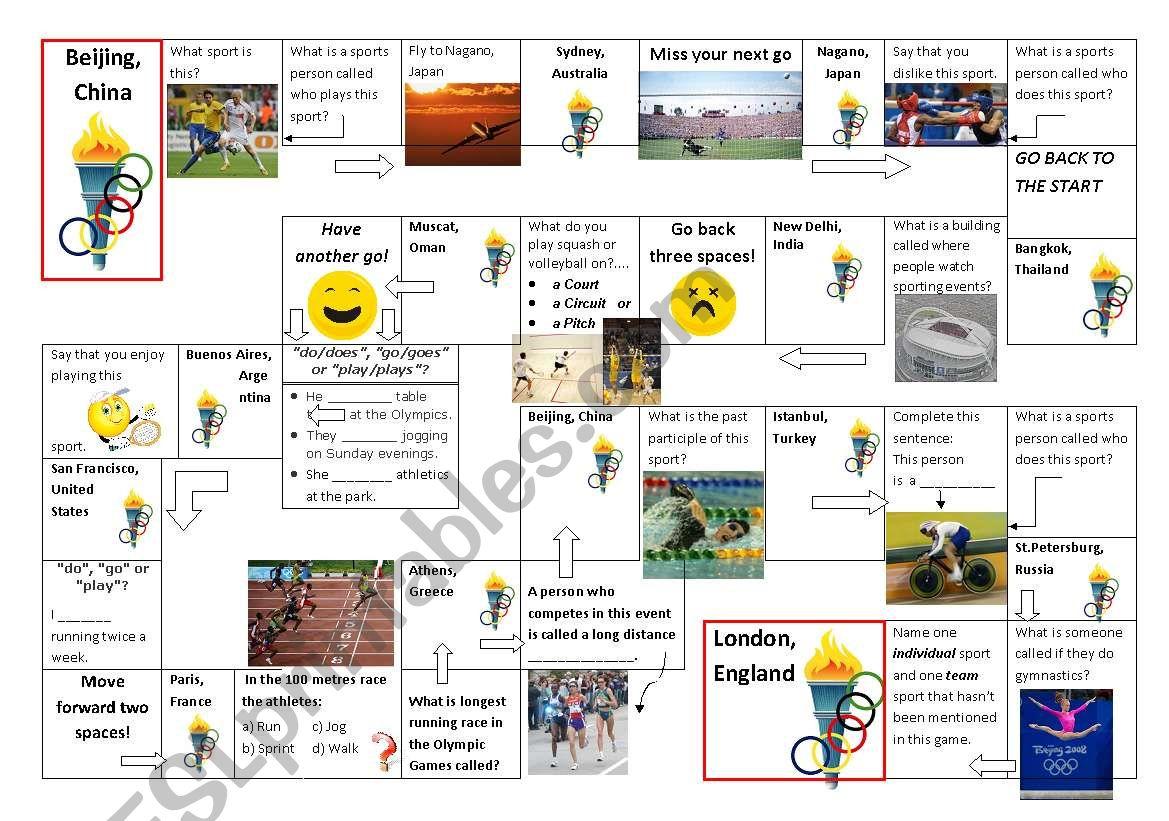 Olympic Preschool Games Worksheet