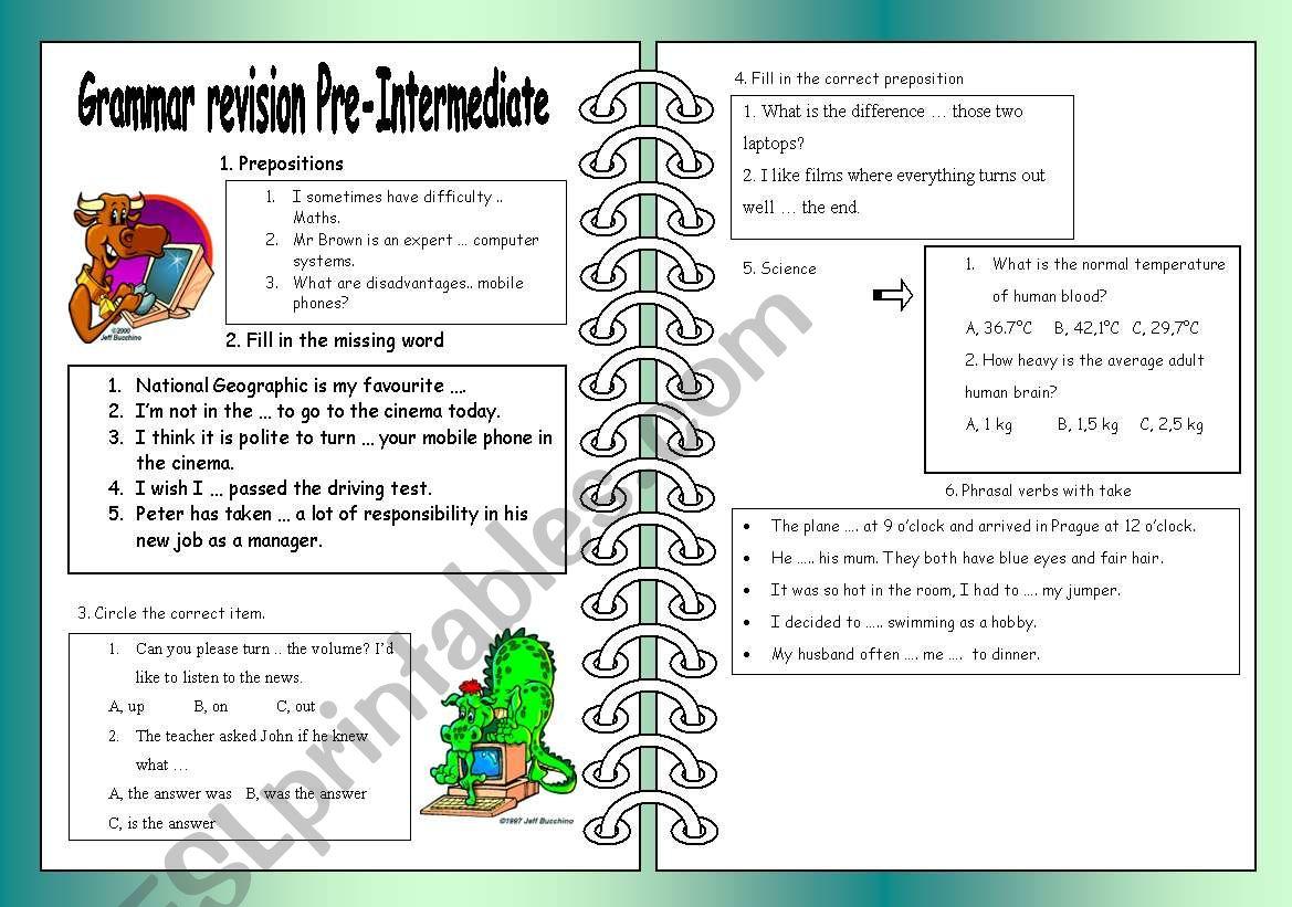 Grammar Revision Pre Intermediate