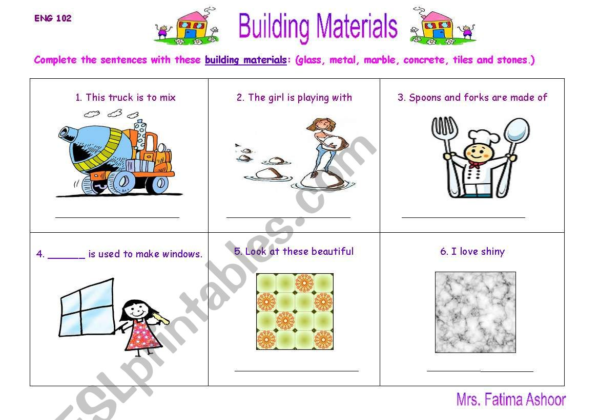 English Worksheets Building Materials