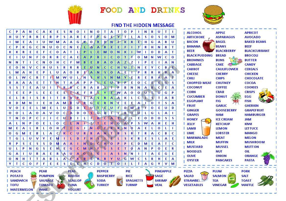 Wordsearch Food And Drinks
