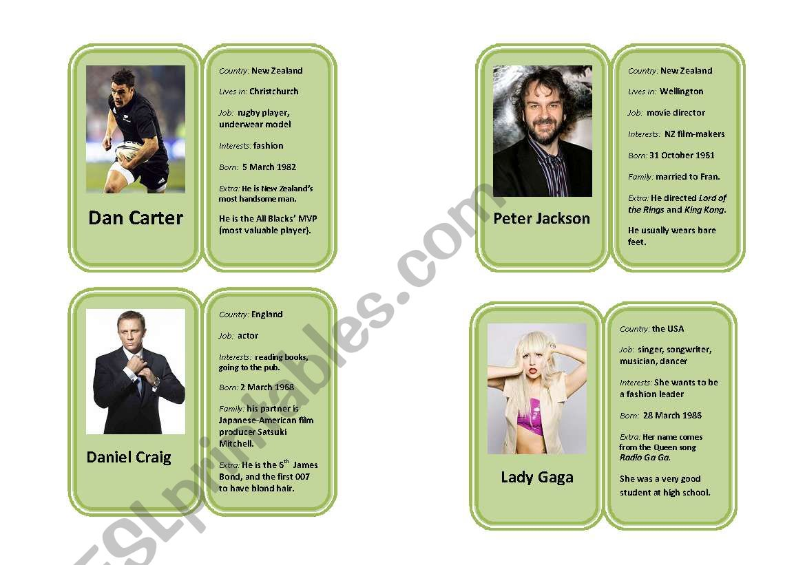 Famous Celebrity Profile Mini Biography Cards 3