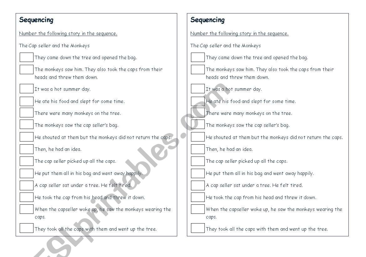 English Worksheets Sequencing