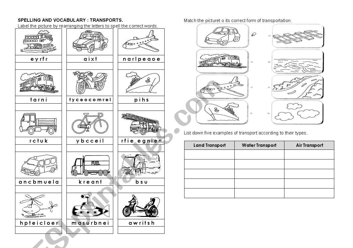 Transport Spelling And Vocabulary