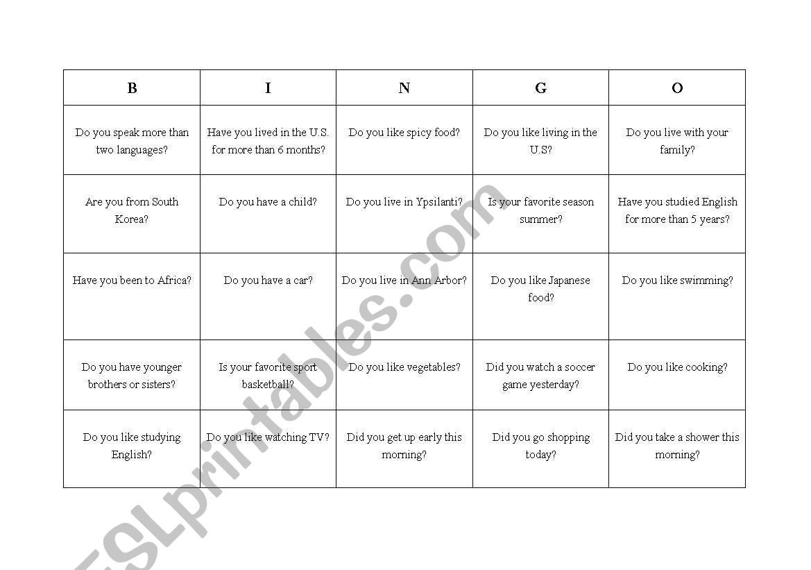 English Worksheets Bingo Icebreaker