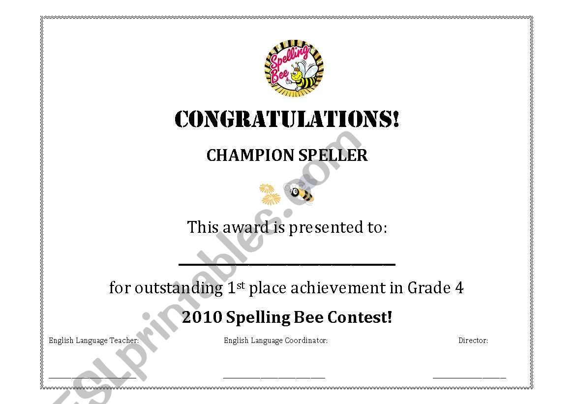 Spelling Bee Certificate Award