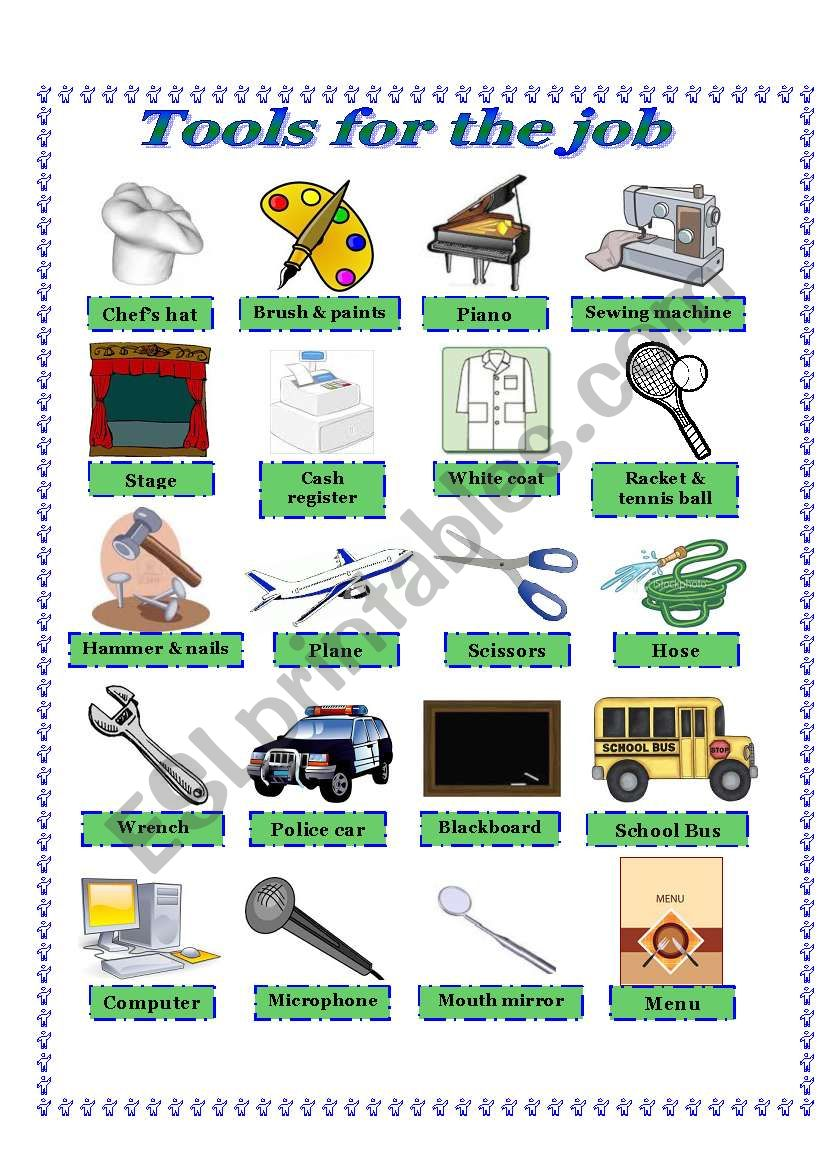 Tools For The Job Picture Dictionary And Activities