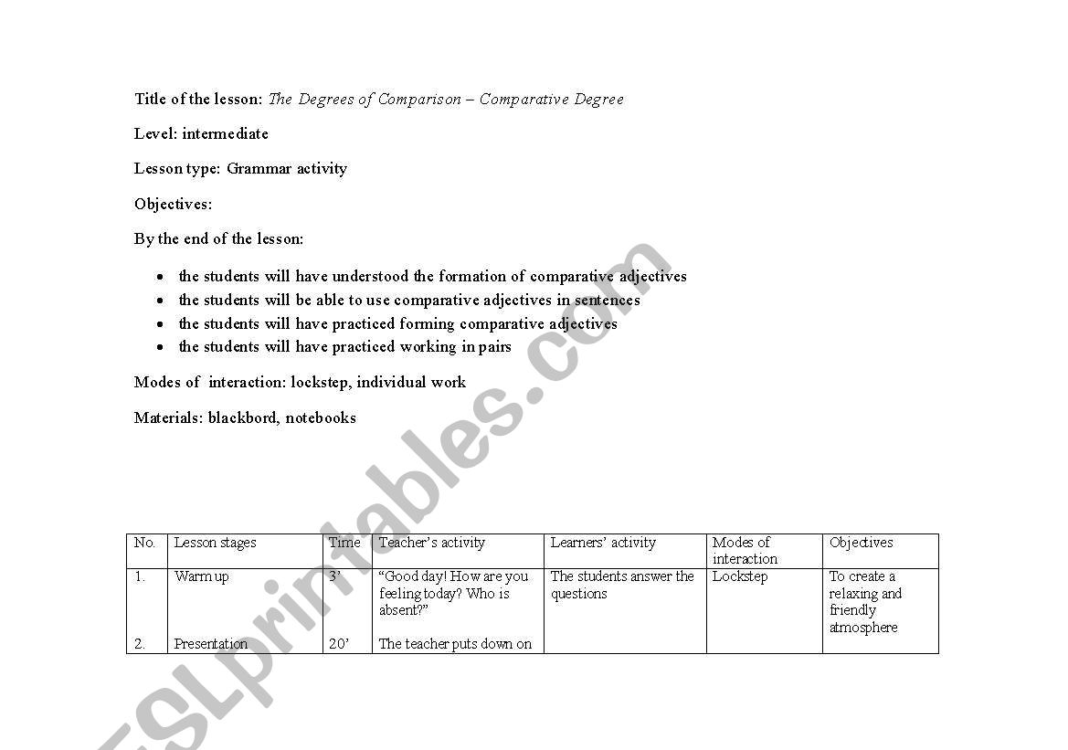 English Worksheets Degrees Of Comparison Lesson Plan