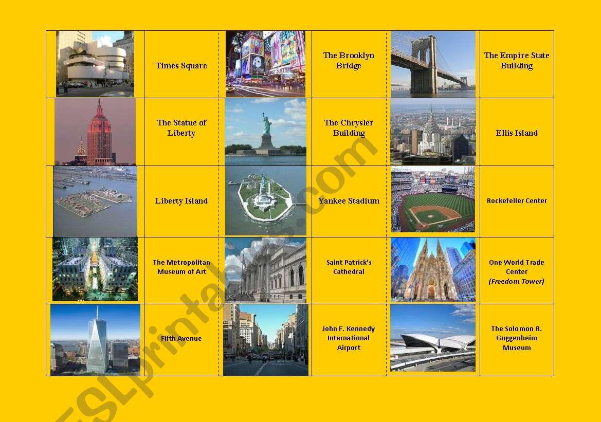 New York City Landmarks Dominoes Fully Editable