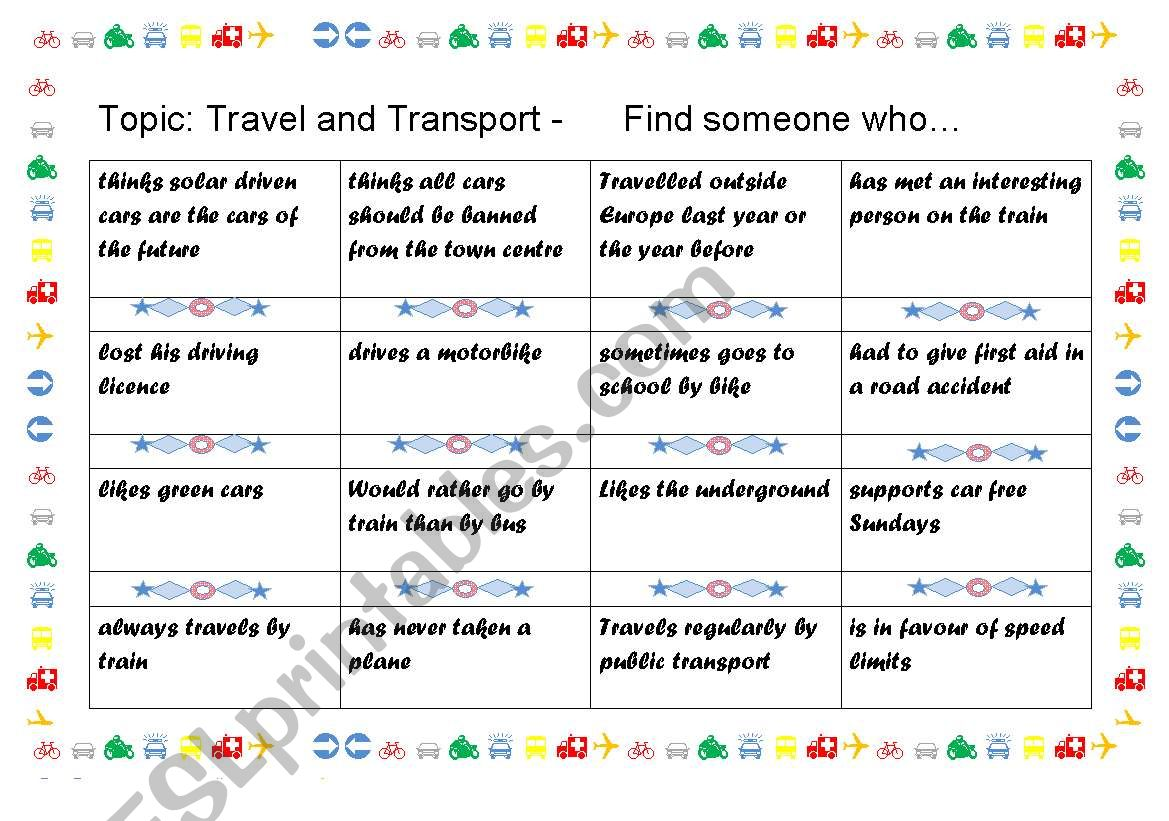 English Worksheets Bingo Travel And Transport