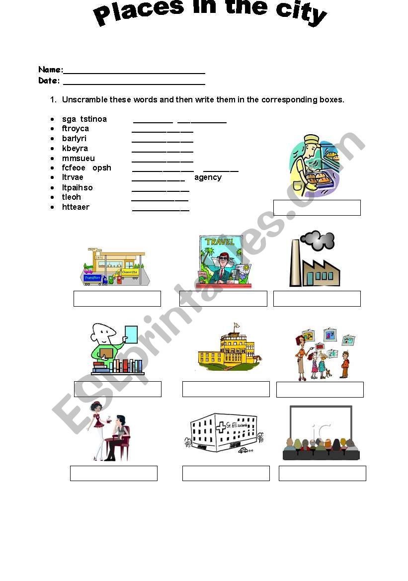 PLACES IN THE CITY ESL Worksheet By PAISITA