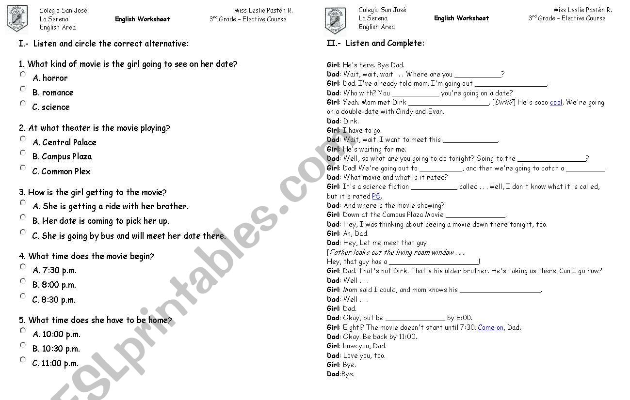 English Worksheets First Date