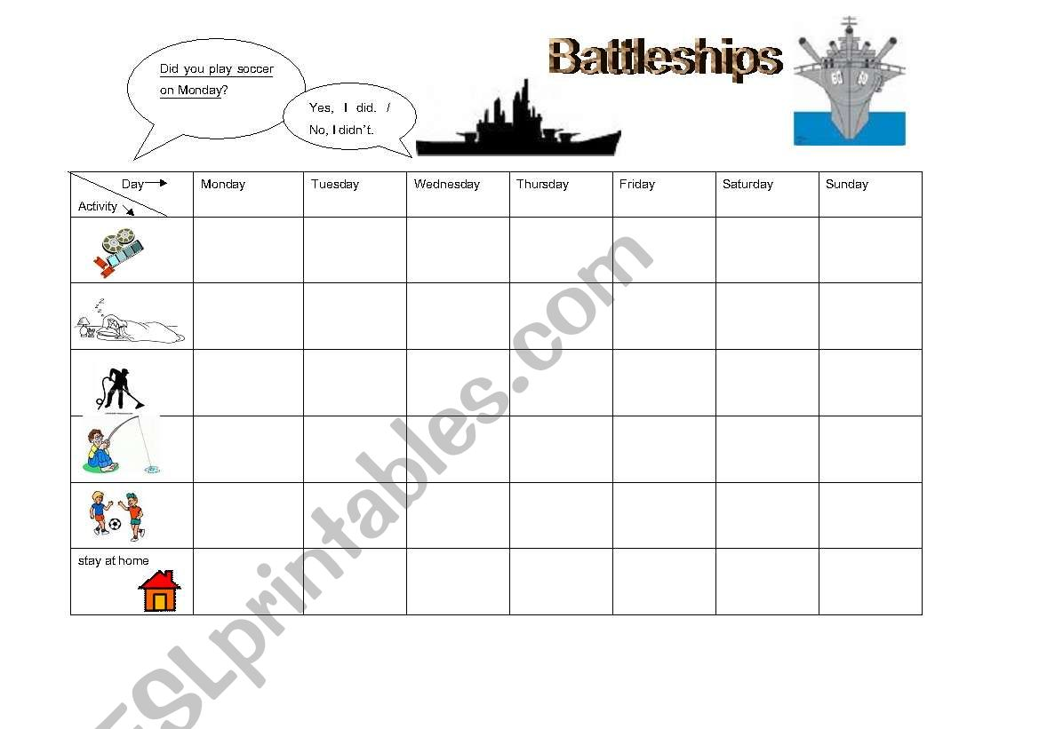 Did You Battleships Game Past Tense Questions