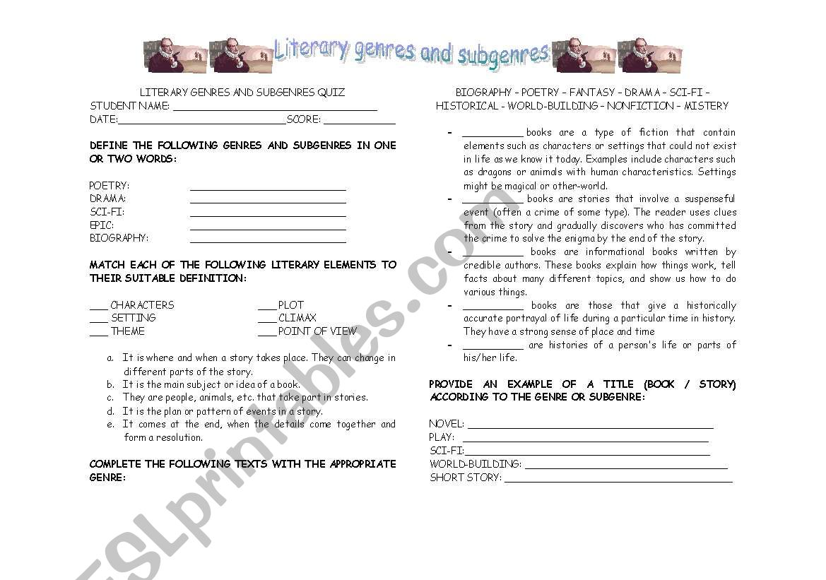 English Worksheets Literary Genres And Subgrenres Quiz
