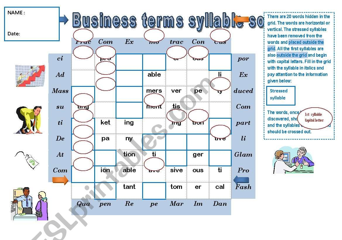 Pronunciation Game Business Terms Syllable Soup Key For