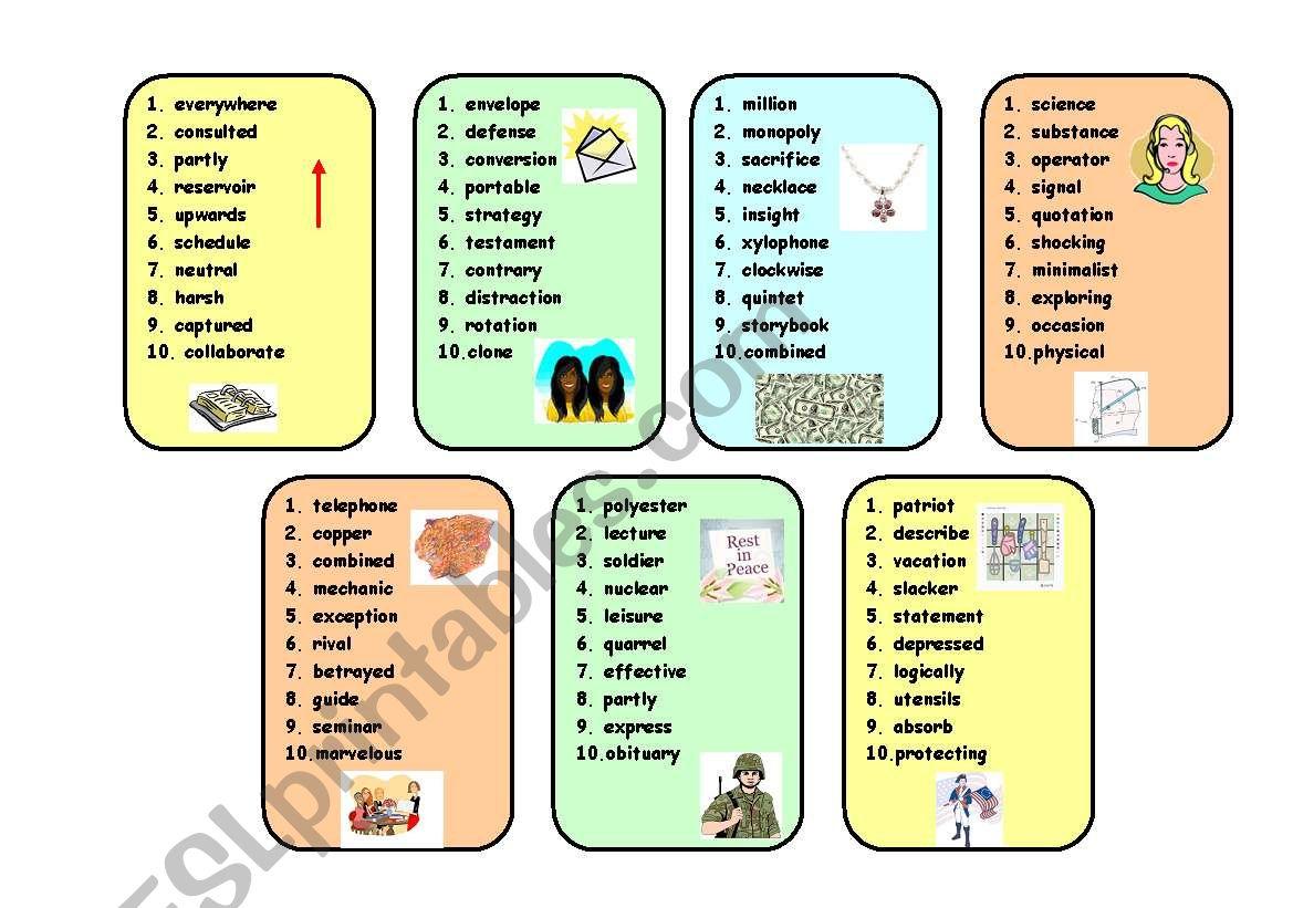 Boardgame Conversation Vocabulary