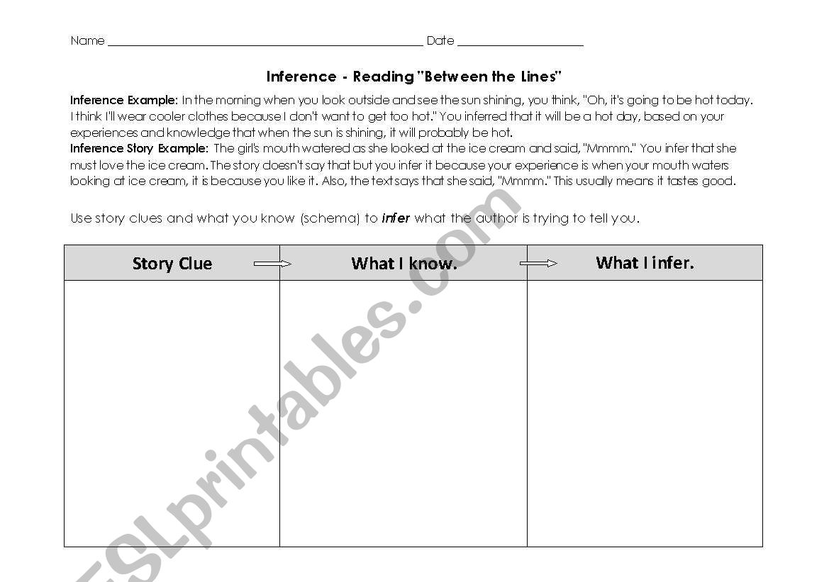 English Worksheets Inferences
