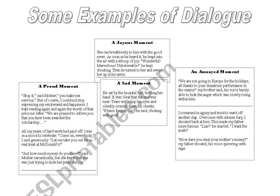 Writing A Piece Of Dialogue Samples Amp Scenarios