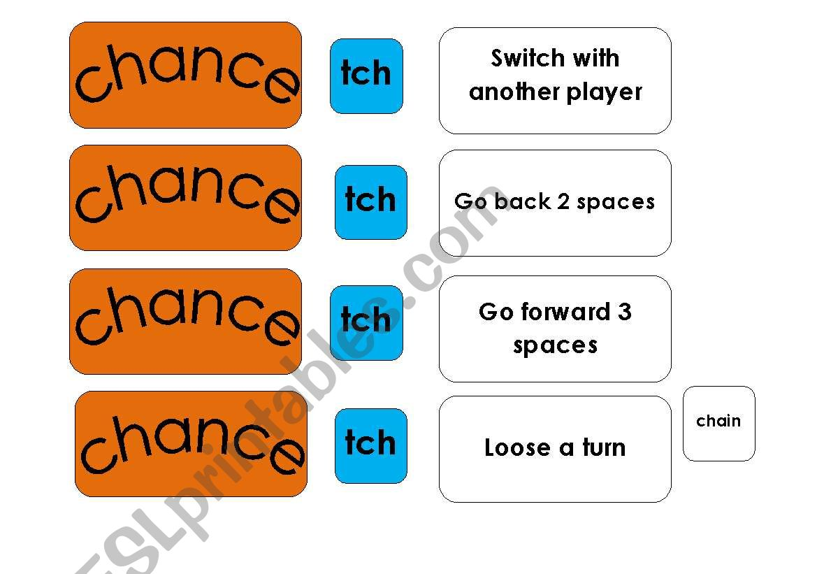 English Worksheets Phonics Board Game Sh Ch Tch